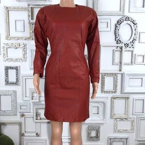 Vintage 1980s Red Leather Long Sleeve Dress